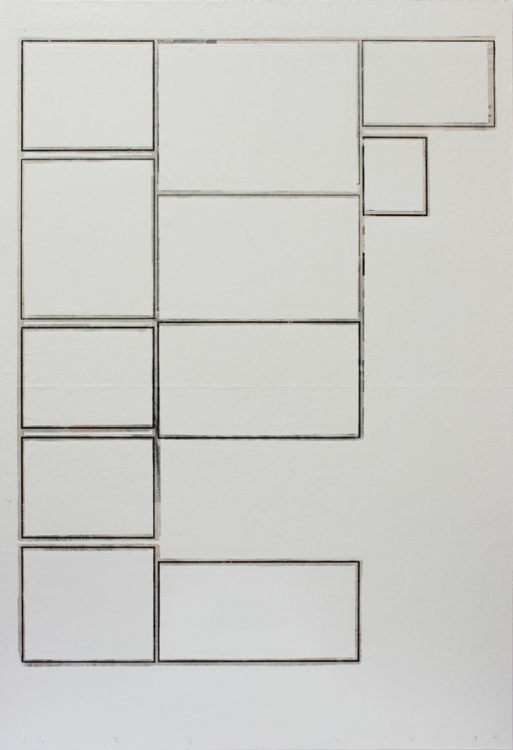 Markus Merkle, UNIT I, 2015, Zeitung, Holz, Lack, 35 x 51,5 cm