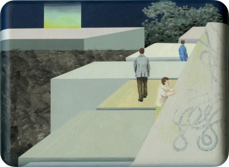 Anna Ingerfurth, Weiter als nah dran, 2015, Acryl auf Mdf, 18 x 23 x 2 cm