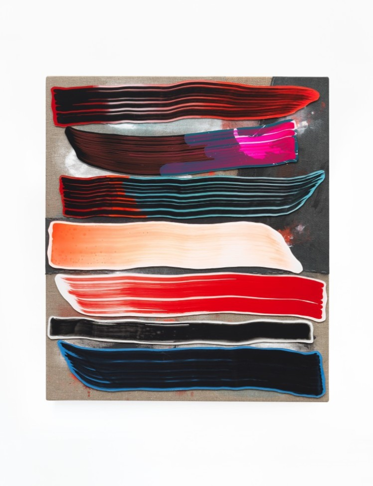 Stefan Wieland, Gewiss Klecks Warum Feenhaar 24, 2015, Acrylglas, Acrylfarbe, Vinylfarbe auf Leinwand, 80 x 70 cm