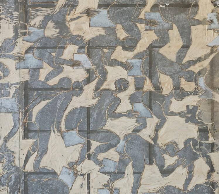 Thomas Putze, Arschkartentauschbörse, 2015, Holzschnitt,160x80x3cm (Ausschnitt) Foto: Josh von Staudach