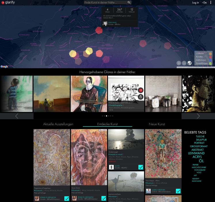 Screenshot der Plattform Glarify.com
