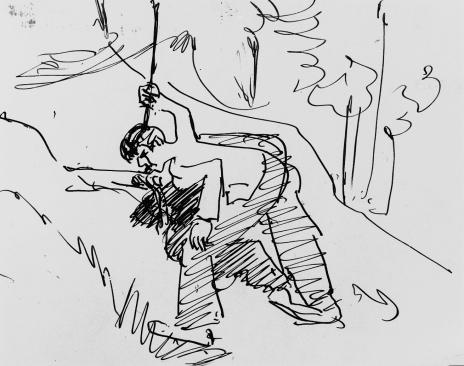 Ernst Ludwig Kirchner - An der Quelle Trinkender, 1929 - Kirchner Museum Davos
