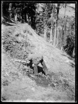 Ernst Ludwig Kirchner, Mann aus einer Quelle im Wald trinkend, 1919/21, Glasnegativ, 24 x 18 cm, Kat. 57, Inv.-Nr. 1./164PL