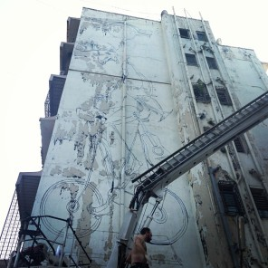 "Dome - ""coming home"" WIP 22,5 m x 5 m Acrylics and spraypaint on wall 