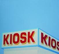 Bernhard Eberle - Kiosk | mehrfarbiger Linoldruck | 55x55 | Auflage 20 | 2011
