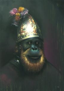 Druck Guido Zimmermann - Der Affe mit dem Goldhelm | Öl, Acryl, Sprühfarbe | 100x70 | 2014