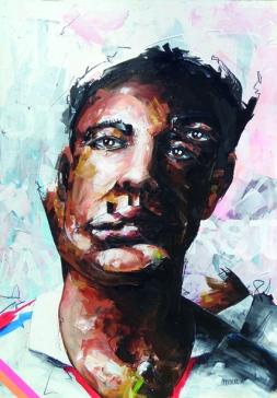 peintre x artist is not present 5 | acrylbleistiftkohle auf karton | 100x70