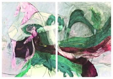 TIMOR Pastel Flow Diptychon | Acryl, Graphite on Paper | 100x140cm | 2013