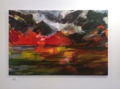 Margret Kube - Fahren wir nach Feuerland 2016, Acryl - Nessel, 80 x 120 cm