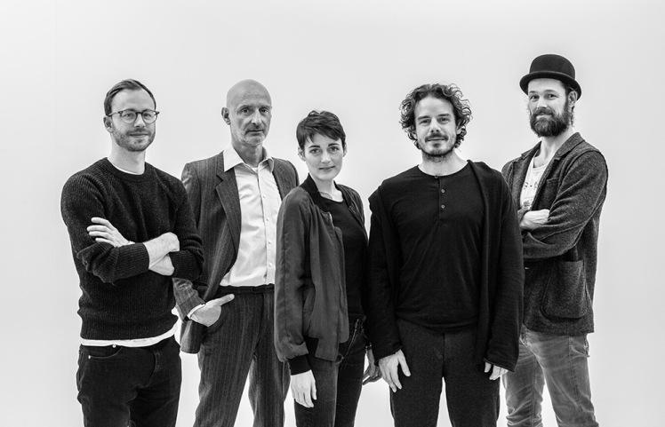 The team behind THE DARK ROOMS (left to right: Tobias Rechsteiner, Jürgen Schwämmle, Clara Cremer, Sven Sauer, Jerry Kowalsky)