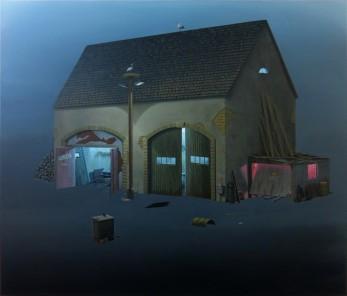 André Schulze, Werkstatt, 2014, Öl auf Leinwand, 130 x 150 cm, © André Schulze