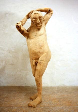 Brele Scholz, Der Badende, 2015, Eiche, 185 x 75 x 65 cm