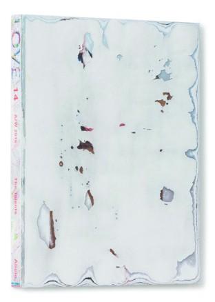 Martin Bruno Schmid, Facepeeling (LOVE), 2016, Lifestyle-Magazin (LOVE, 14 A/W 2015) mit abgeschliffenem Titelblatt, 30 x 23 x 2,5 cm, Foto: Frank Kleinbach