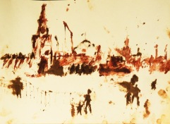 "Blood, oil (petroleum) on paper, for ""Ne Mir"" (Unpeace)"